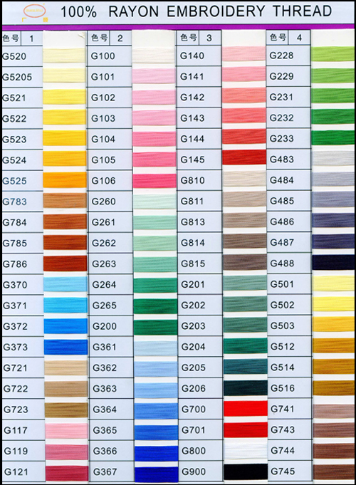 Rayon Thread Colors